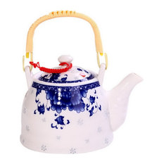 Ceramic Cold Kettle Boiled Teapot With Wooden Handle, 35 Oz, Deep Blue And White