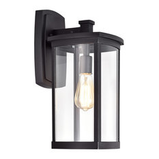 CHLOE Lighting QUILL Transitional 1-Light Textured Black Outdoor Wall Sconce