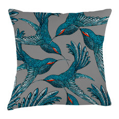 Paradise Velvet Cushion, Blue Birds
