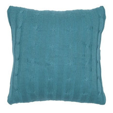 Pillow Cable Knit Sweater Fabric With Matching Inner Lining, Turquoise