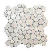 "12""x12"" White Moon Mosaic Tile"