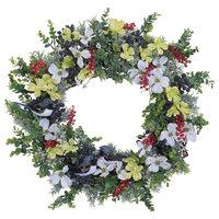 "Bluebirds & Berries White Dogwood & Boxwood Green Spring Everyday Wreath, 30"""