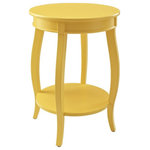 Powell Furniture - Powell Wren Round Wood End Table with Shelf in Yellow - This contemporary round table is a convenient accent for any room of your home. Pair this piece with your favorite accent chair, on either side of your sofa or even as a nightstand beside of your bed. A round lower shelf offers a convenient option for storing magazines, coasters or your favorite books. The cabriole tapered legs can match almost any style or design. Some assembly required.