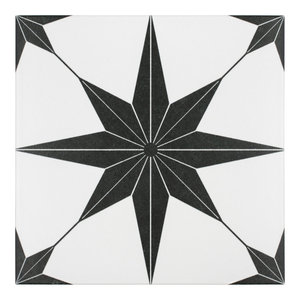 """9.75""""x9.75"""" Cilento Porcelain Floor and Wall Tile, Set of 16, Nero"""