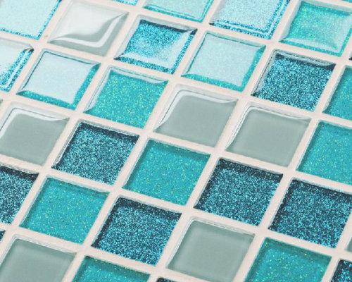 Glass tile backsplash kitchen bath mosaic green swimming pool tile