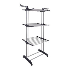 Aquaterior 3 Tier Clothes Drying Rack Folding Hanger Compact Storage, Gray