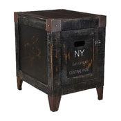 Rustic Wood City Graffiti Storage End Table