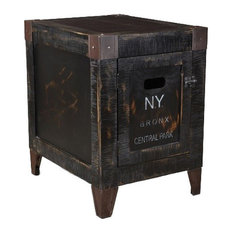Rustic Reclaimed Wood Graffiti Storage End Table