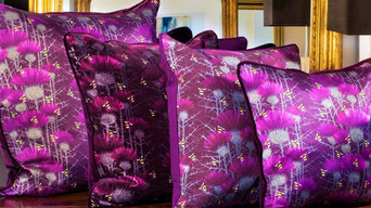 Bill's Bees cushions in Highland Purple silk, cotton velvet or cotton