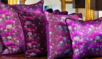 Bill's Bees Design cushions in Highland Purple pure silk, cotton velvet or cotto