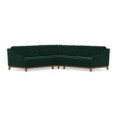 Bannister 3-Piece Sectional Sofa, Evergreen Velvet