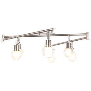 Aria Adjustable 6 Light Silver Metal Flush-Mount Ceiling Light