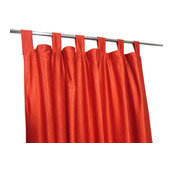 "Mogul Interior - Orange Tab Top Indian Sari Curtain / Drape / Panel- Pair Window, 48""x84"" - Curtains"