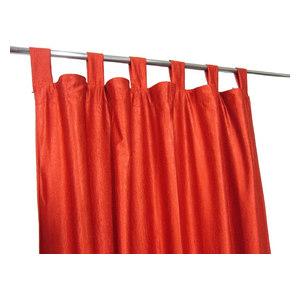 "Mogul Interior - Orange Tab Top Indian Sari Curtain / Drape / Panel- Pair Window, 48""x84"" - Curtains"