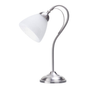 Barcelona Satin Chrome 1 Light Table Lamp