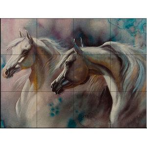 Tile Mural, 2 Horses, 43.2x32.4 cm