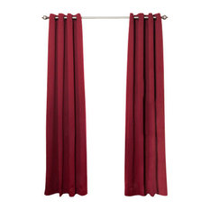 Solid Grommet Top Thermal Insulated Blackout Curtains, Burgundy, 108""