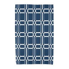 "30""x60"" O the Fun, Geometric Print Beach Towel, Blue"