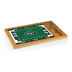 New York Jets Icon Cutting Board and Tray and Knife Set, Football Design