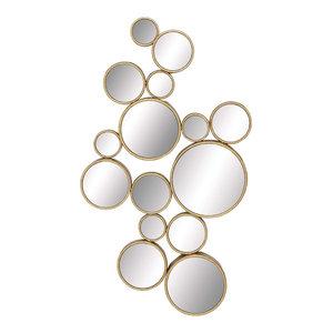 "Contemporary Large Gold Metal Circles Wall Mirror, 22""x40"""