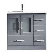 """Zola 36"""" Vanity, Gray, Polished Chrome, Without Mirror"""