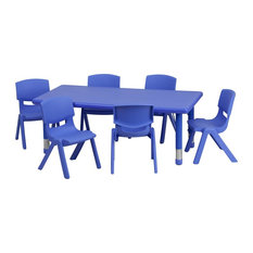 Flash Furniture   Flash Furniture Blue Adjustable Height Plastic Activity  Tables   Kids Tables And Chairs