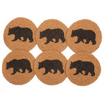 VHC Brands - Black Rustic Tabletop Kitchen VHC Wyatt Bear Coaster, Jute, Set of 6 - Bring a little rustic nature into your home with the Wyatt Stenciled Bear Jute Coaster Set of 6. This wildlife, lodge inspired coaster set features beautiful concentric braids of tan showcasing a stenciled black bear in the center to complete the look.