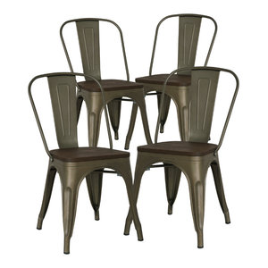 Poly and Bark Trattoria Side Chair, Bronze / Elm, Set of 4