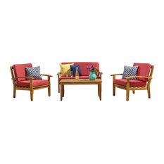 GDF Studio 4-Piece Peyton Acacia Wood Chat Set With Cushions, Red