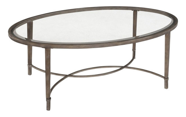 Home Furnishings Copia Brushed Metal Oval Tail Table