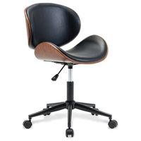 Mid-Century Swivel Office Desk Chair, Black