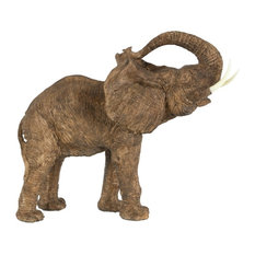 Polyresin Trumpeting Elephant Accent, Brown