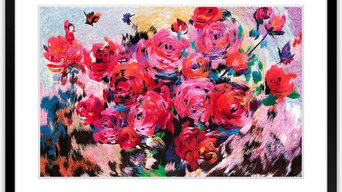 Abstract Roses - Hand Designed Silk Art, Silk Embroidery