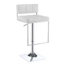 Bowery Hill Faux Leather Adjustable Bar Stool In White And Chrome