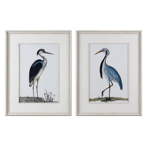 "Shore Birds 42.5"" Framed Bird Print, 2-Piece Set, Distress White Washed/White"