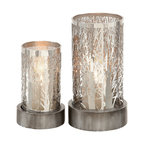 "Metal Candle Holders, 2-Piece Set, 11"", 8"""