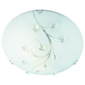 Flush Mount Ceiling Light, Round Glass With Crystal, 30 cm