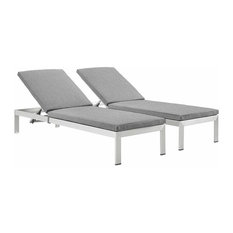 Shore Outdoor Patio Aluminum Chaise With Cushions, Set of 2, Silver Gray