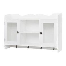 VidaXL White MDF Wall Cabinet and Display Shelf
