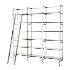 Delano Modern Classic Stainless Steel Clear Glass Ladder Display Case Bookshelf