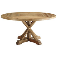 "Stitch 59"" Round Pine Wood Dining Table"