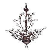 4-Light Antique Copper Finish Vine and Crystal Chandelier