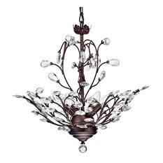 Edvivi LLC - 4-Light Vine And Crystal Chandelier Ceiling Fixture, Antique Copper - Chandeliers