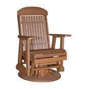 Highback Glider Swivel Chair in Premium Woodgrain Poly Lumber, Antique Mahogany