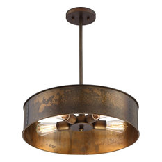 Kettle 4 Light Pendant in Weathered Brass