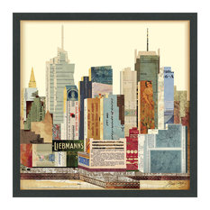 New York City Skyline Dimensional Collage Framed Wall Art Under Glass Art