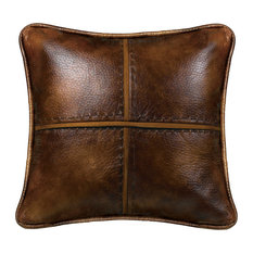 HiEnd Accents - Cross Stitched Pillow Features Faux Leather With Hand Stitched Details., 18x18 - Decorative Pillows