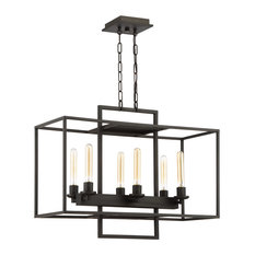 Cubic 6-Light Linear Chandelier, Aged Bronze Brushed