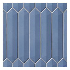 """Axis 3D 2.6""""x13"""" Polished Elongated Hex Ceramic Wall Tile, Blue"""