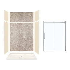 "Expressions Alcove Shower Kit With Extension and Door, Bisque/Dover Stone, 60""x3"